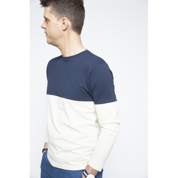 Long Sleeve White/Navy - Brooklyn Razor