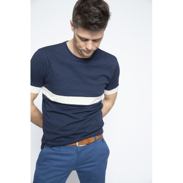 T-shirt Navy Stripe White - Brooklyn Razor