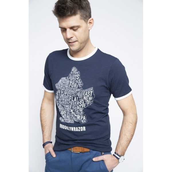 T-shirt Map Navy - Brooklyn Razor