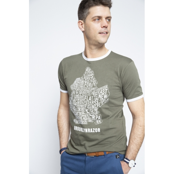 T-shirt Map Olive Green - Brooklyn Razor