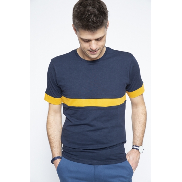 T-shirt Navy Stripe Yellow - Brooklyn Razor