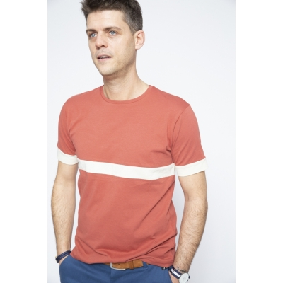 T-shirt Rose Stripe White  - Brooklyn Razor