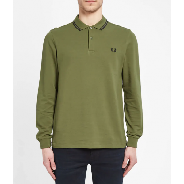 Fred Perry Long Sleeve - Olive Green