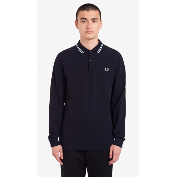 Fred Perry Long Sleeve - Navy/White