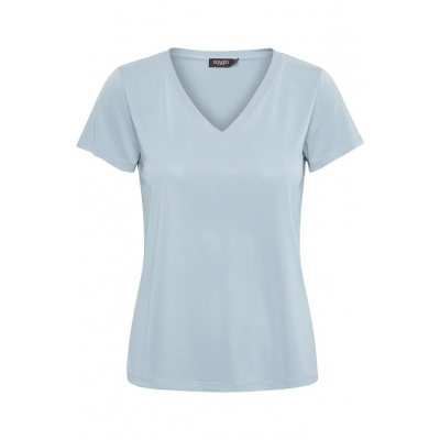 soaked in luxury V-neck shirt cashmere blue