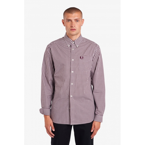Fred Perry Gingham Shirt Mahogany