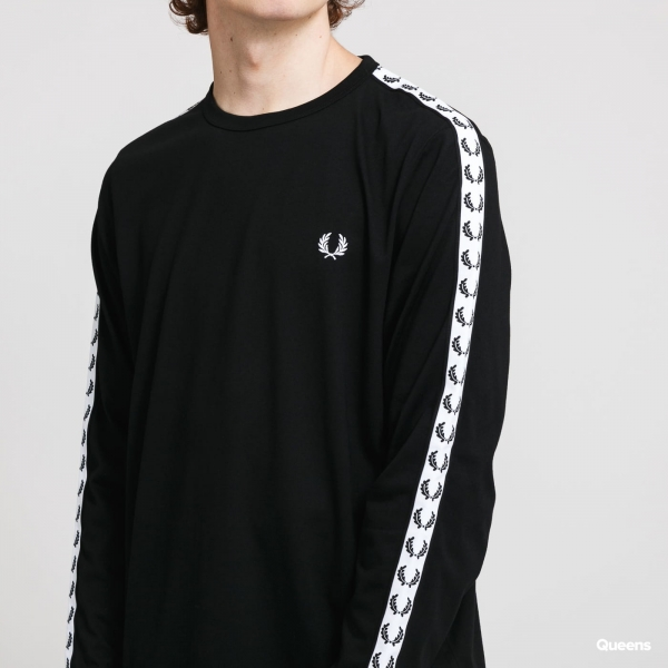 FRED PERRY TAPED LONG SLEEVE T-SHIRT BLACK